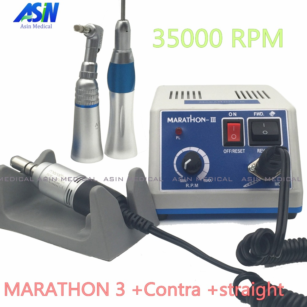 2017 NEW dental Lab micromotor polish handpiece with contra angle & straight handpiece SEAYANG MARATHON 3 + Electric Motor