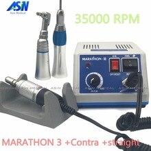 Goede Kwaliteit Dental Lab Micromotor Polish Handstuk Met Contra Hoek & Rechte Handstuk Seayang Marathon 3 + Elektrische Motor