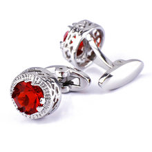 Bridegroom Wedding Party Business Men Cufflinks French Shirts Cuff Links Garnet Red Crystal Silvery Cufflink With Gift Bag(China)