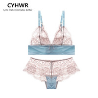 CYHWR Sexy lace without steel ring ultra thin perspective breathable small comfortable triangular cup underwear bra set