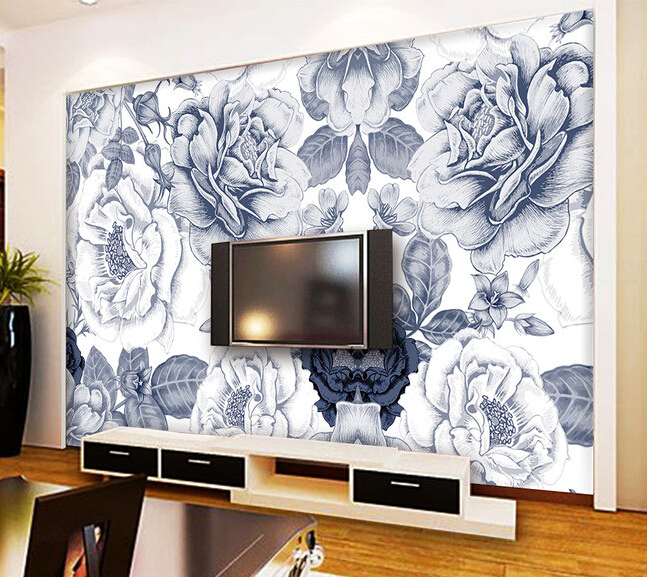 Custom flowers wallpaper 3D, hand painted flower murals for the living room bedroom TV background wall waterproof wallpaper.  custom mural wallpaper 3d non woven black and white flower hand painted paintings living room sofa tv 3d wall murals wallpaper