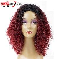 Mèches soyeuses Afro Crépus Bouclés Perruque Synthétique Cheveux Ombre Noir Rouge Perruques Courtes Pour Les Femmes Kanekalon Résistant À La Chaleur Sans Colle Moelleux