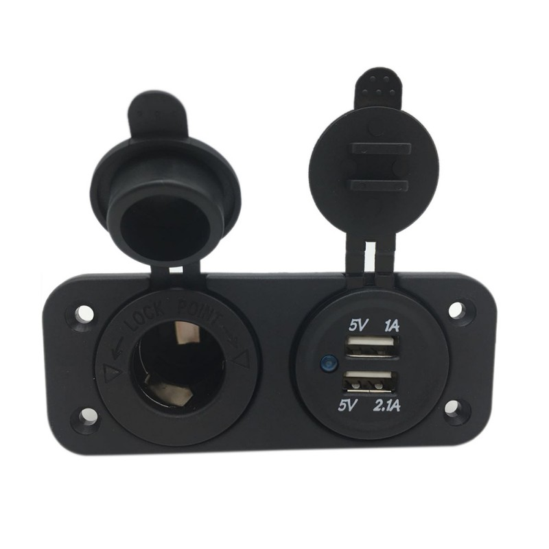 <font><b>12V</b></font> <font><b>Car</b></font> <font><b>Cigarette</b></font> Lighter Plug Adapter Socket Splitter Waterproof Motorcycle Boat Dual USB Power <font><b>Charger</b></font> Outlet for Smart Phone image