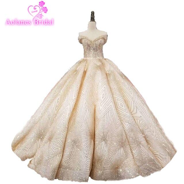 Luxury Gold Glitter Mesh Wedding Ball Gown Big Skirt 2018 Off The Shoulder  Bling Photography Wedding 2d23b045da52