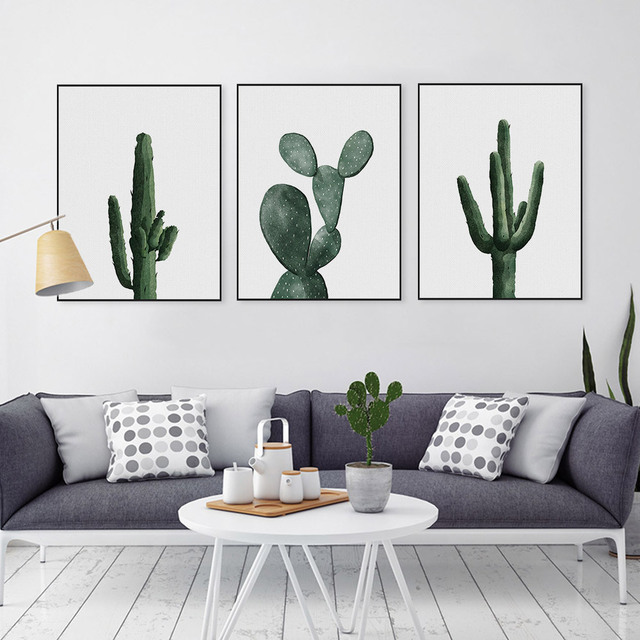Simple Pastoral Green Cactus Wall Art Canvas Print Poster, Wall Painting  For Home Decoration,
