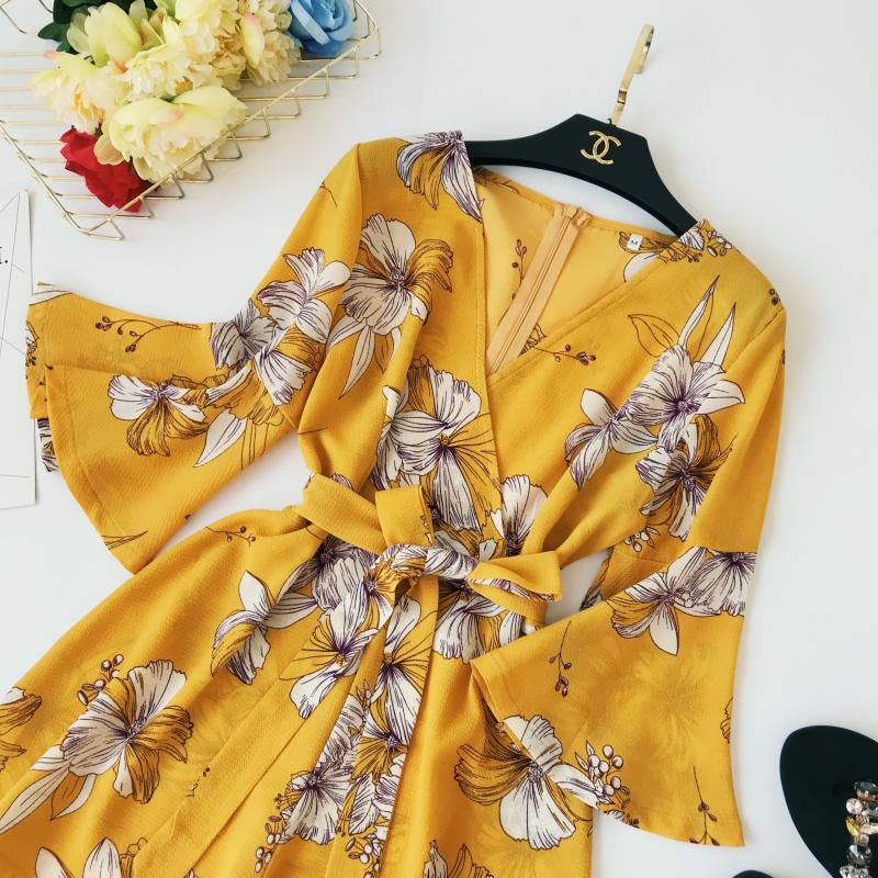 Yellow Red Floral Print Bow Wide Leg Lace Up Yellow Romper Jumpsuit 5