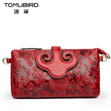 Famous brand top quality Cow Leather women bag Chinese style embossed handbag Shoulder Messenger Bag Small square pack