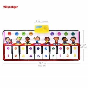 Image 3 - 100x40cm פסנתר צעצועים מוסיקלי לשחק מחצלת עם 8 מכשיר קול & אחד מפתח אחד הערה & לשחק בחזרה פונקצית תינוק לשחק שטיח חג המולד צעצועים