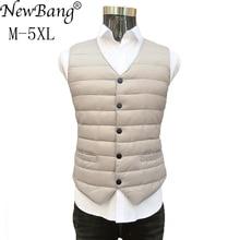 Newbang marca 7xl 8xl lager tamanho terno masculino colete quente forro ultra leve para baixo colete masculino portátil com decote em v sem gola