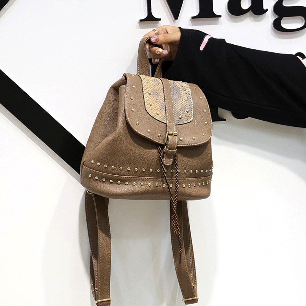 Fashion Women Vintage Backpack Rivet Decoration Rucksack Drawstring School Bag JUNE1