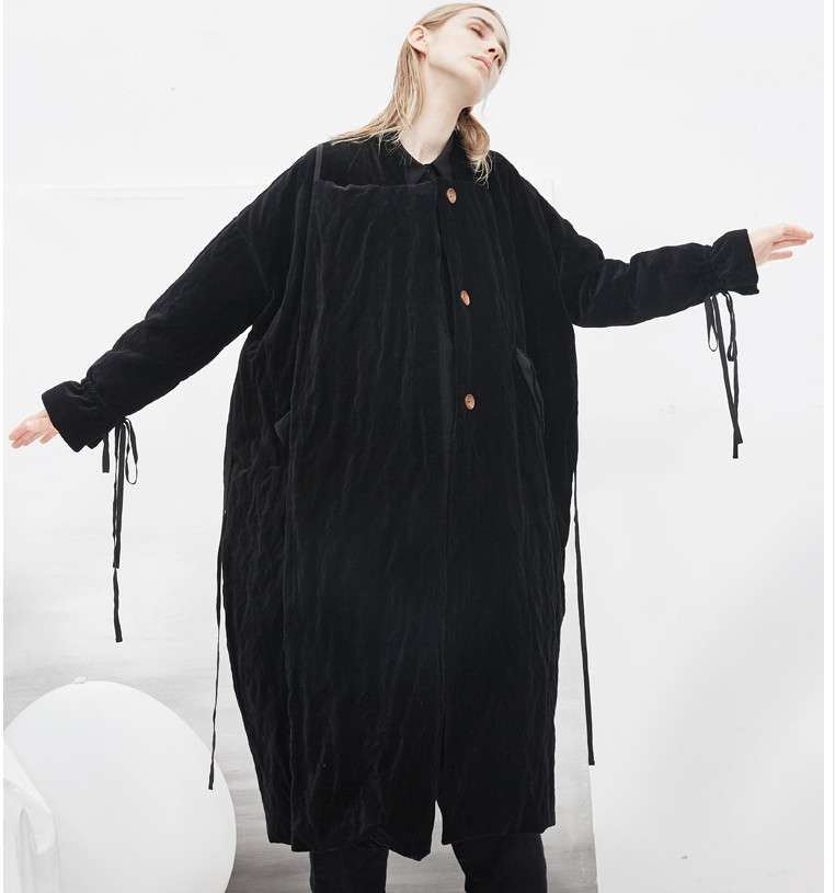 Original Design New Women Novelty Casual Ultra Loose Thicken Warm Long Black Velvet White Duck   Down   Jacket   Coat