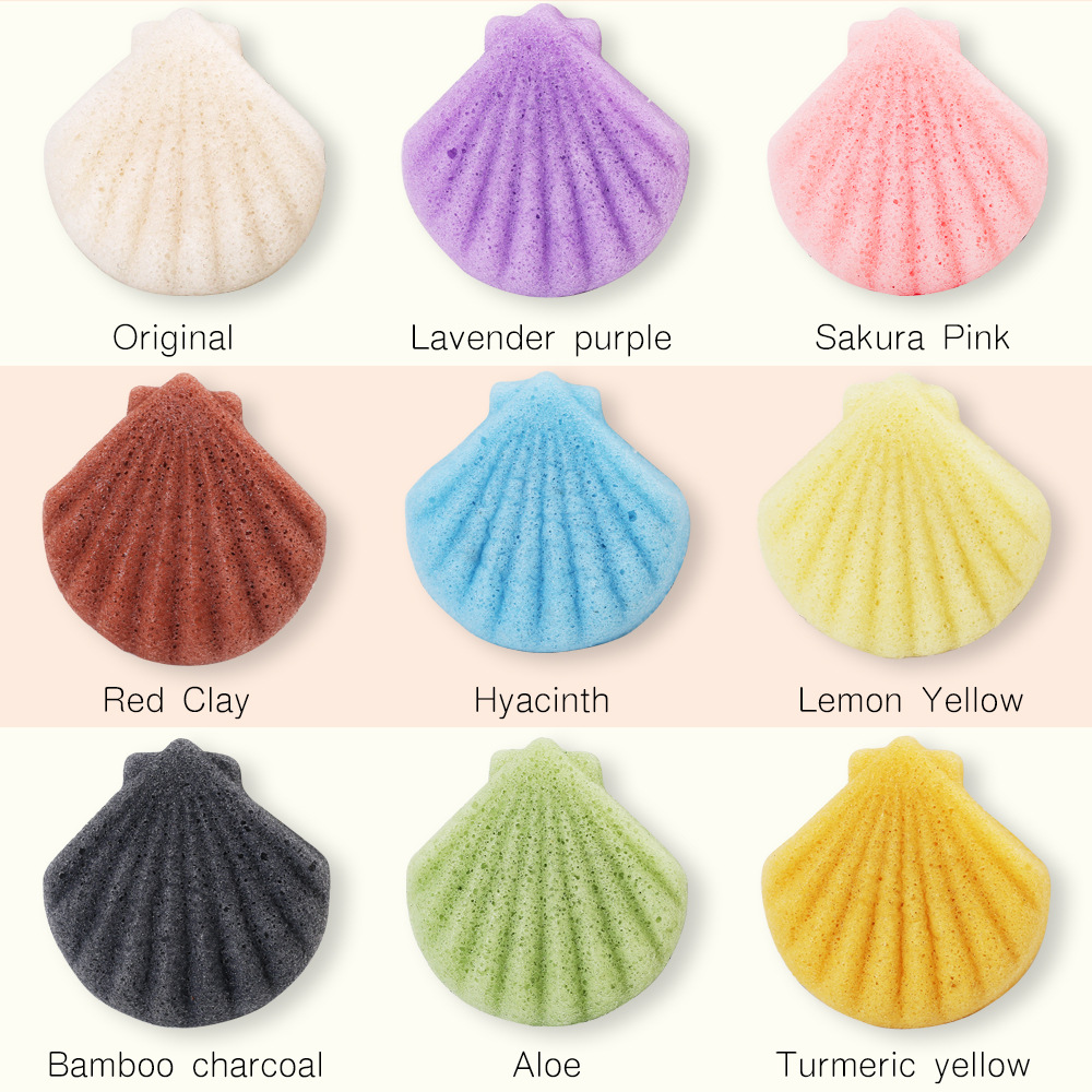 NEW shell shape Natural Facial Konjac Sponge 100 natural by steaming the edible konjac fiber no chemical additives SpongeCL0048 in Face Skin Care Tools from Beauty Health