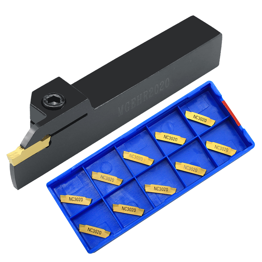 10pcs MGMN250 G NC3020 PC9030 Carbide Insert Grooving Turning Tool With 1pc MGEHR1616 2020 2525 -2.5 Groove CNC Tool Holder Set