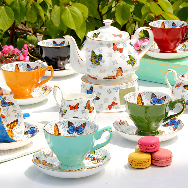 16 pcs Ceramic bone china afternoon tea set gift in butterfly ...