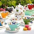 16 unids afternoon tea set de regalo de china de hueso De Cerámica de diseño de la mariposa: 1 olla + 1 quemador + 1 crema + 1 olla 6 tazas de azúcar 6 platillos