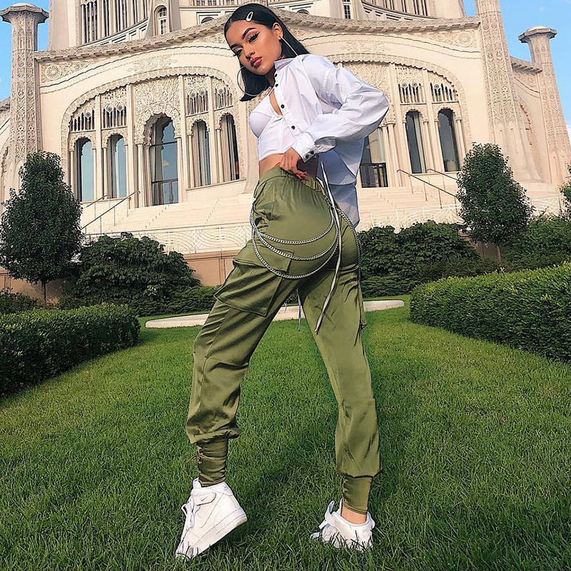 Army Green Casual Satin Pants Capris Elastic High Waist Cargo Pants Women Streetwear Bandage Joggers Sweatpants Solid