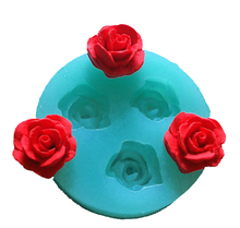 Pink 1 piece free shipping 3 rose cooking tools christmas wedding decoration Silicone Mould Fondant Sugar Bow Craft  d070