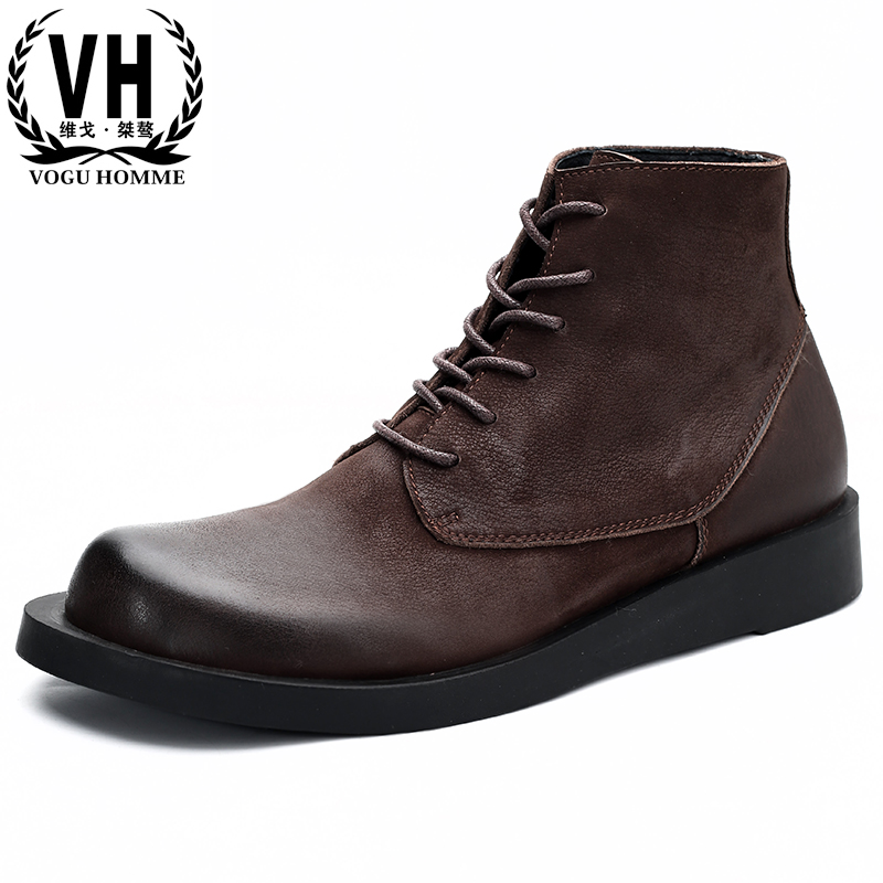 Riding boots men autumn winter combat boots all-match cowhide mens chelsea boots High top steel toe shoes Genuine Leather maleRiding boots men autumn winter combat boots all-match cowhide mens chelsea boots High top steel toe shoes Genuine Leather male