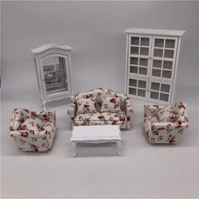 цены 1:12 dollhouse furniture toy for dolls mini double soft sofa tea table white cabinet pretend play toys for kids girls gifts