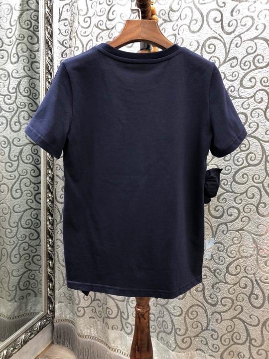 0316 Courtes D'été Manches À Top Et Noir Nouvelle Femme Oblique 2019 De Oreille Irrégulière Baituan bleu Printemps Couture BH4wqZ