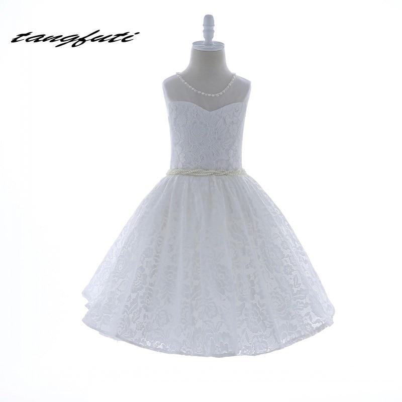 Robes de demoiselle d'honneur une ligne O cou perles perles dentelle première Communion robes pour fille sur mesure Photo réelle robe de fleur