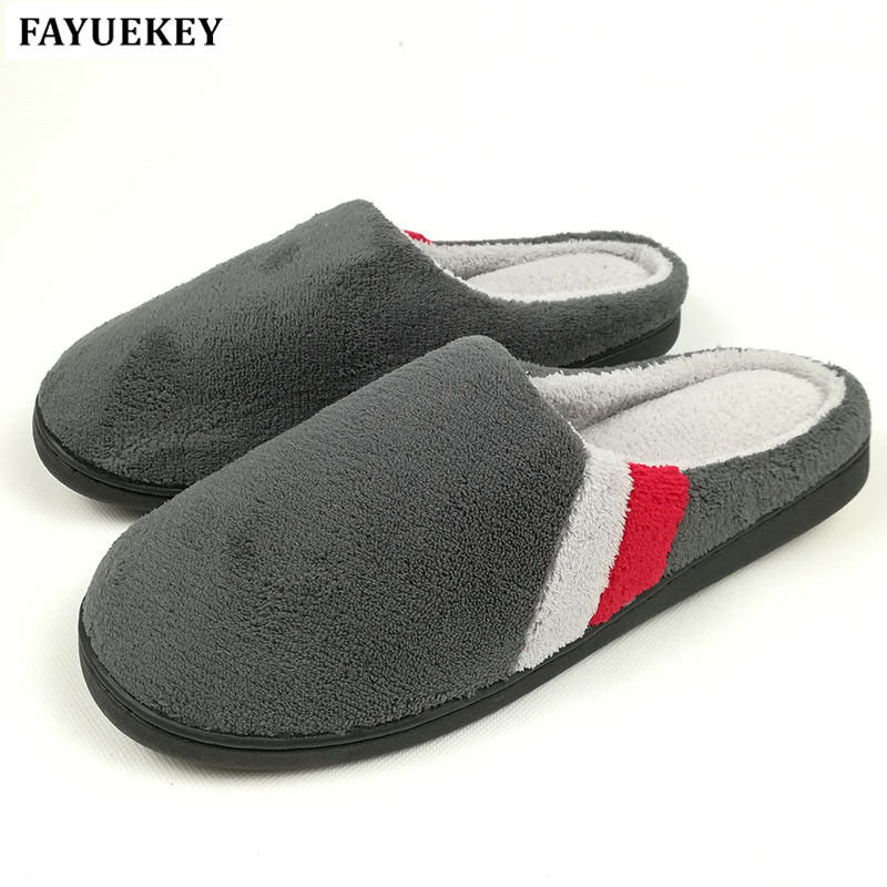 FAYUEKEY Big Size 2018 Autumn Winter Home Thermal Cotton-Padded Slippers For Men IndoorFloor Boys Gift Warm Slippers Flat Shoes