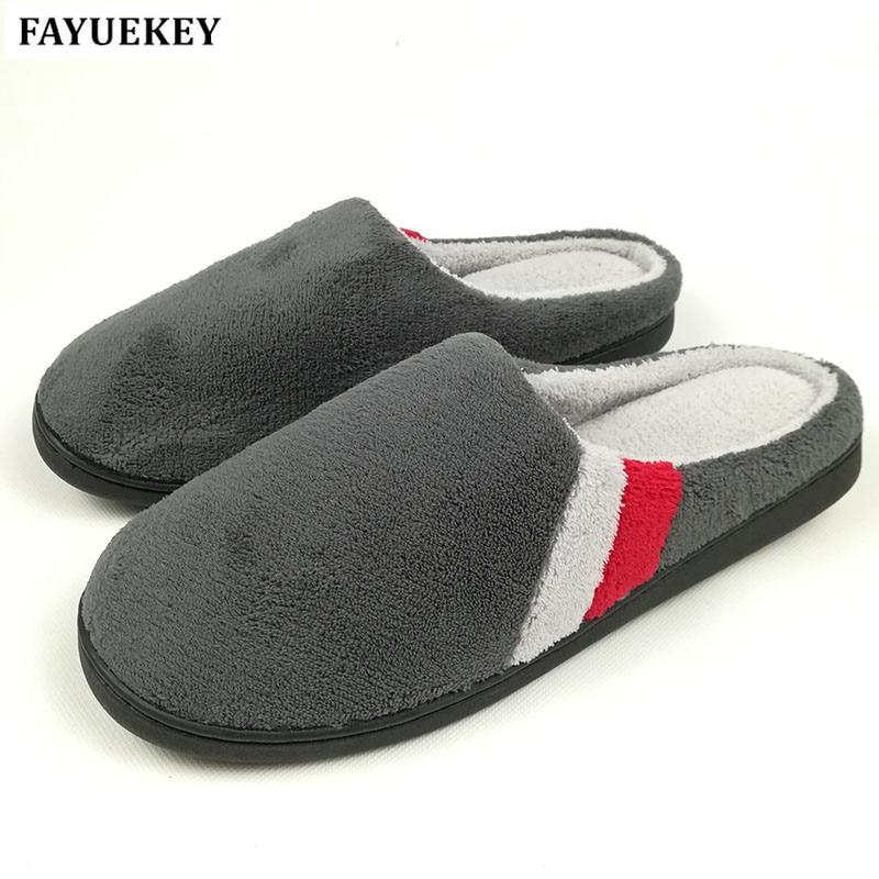FAYUEKEY 큰 크기 2018 년 가을 겨울 가정 열 층 면화 실내 슬리퍼 실내  층 소년 선물 따뜻한 슬리퍼 플랫 신발