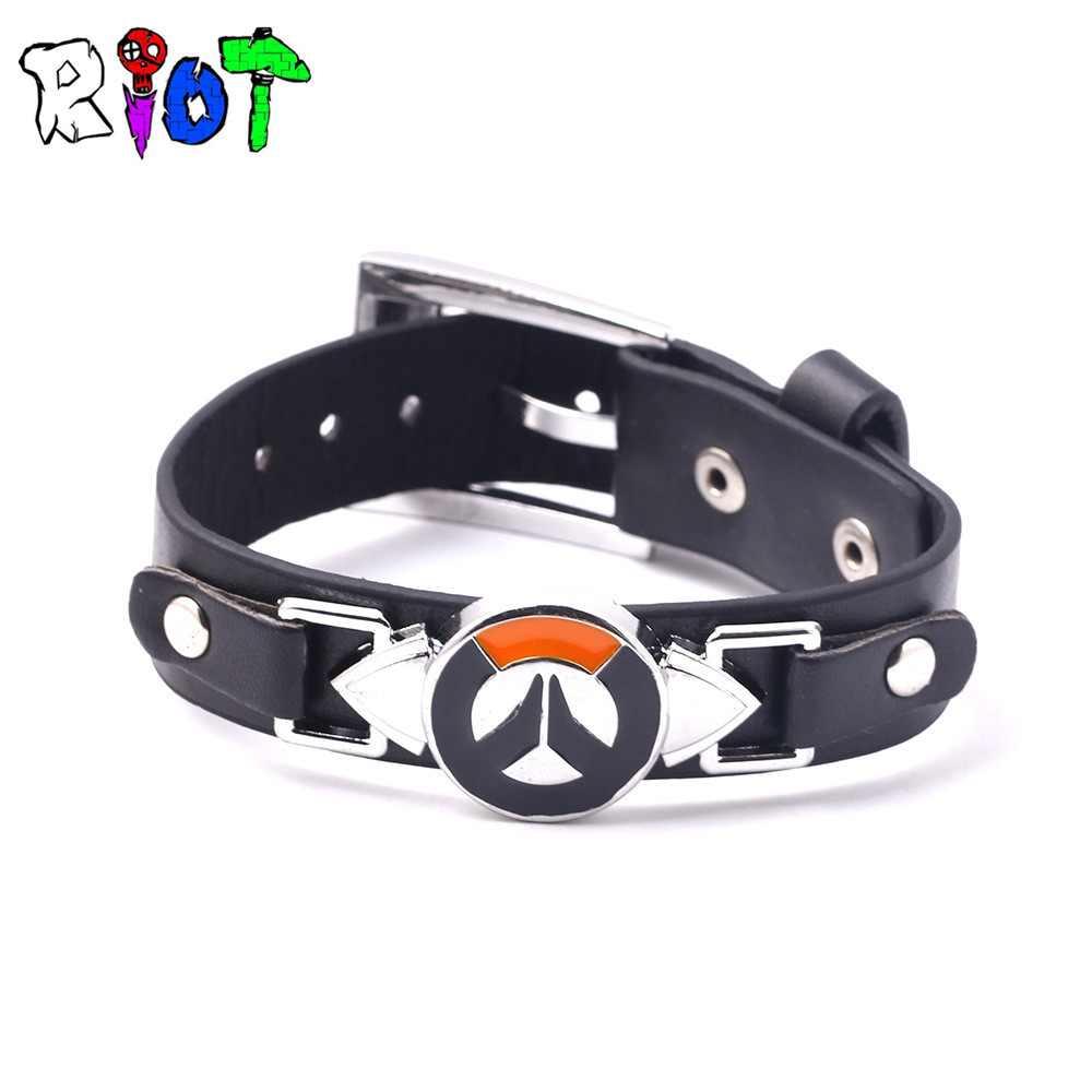 FPS Game Overwatch Logo Leather Bracelet Men Jewelry Tracer Reaper Hero OW Game Bangle Wristband Movement Charms Souvenirs Gift