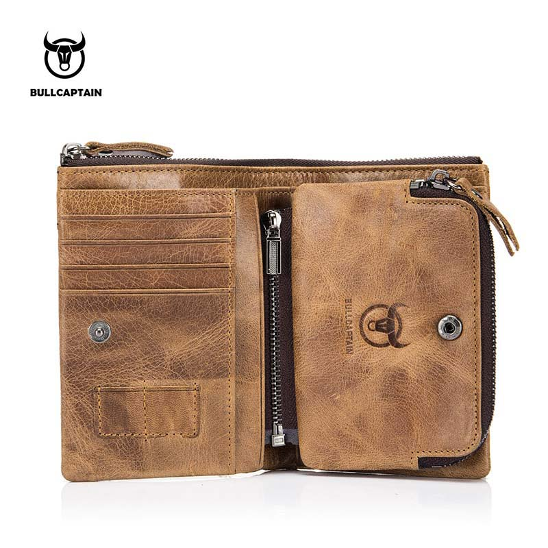BULLCAPTAIN Authentic Leather Men's Wallet Short Purse Small Retro Wallet Brand High RFID New Short Wallet 013