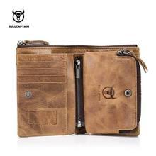 BULLCAPTAIN cartera de cuero auténtico para hombre, monedero pequeño retro, RFID, novedad, cartera corta 013