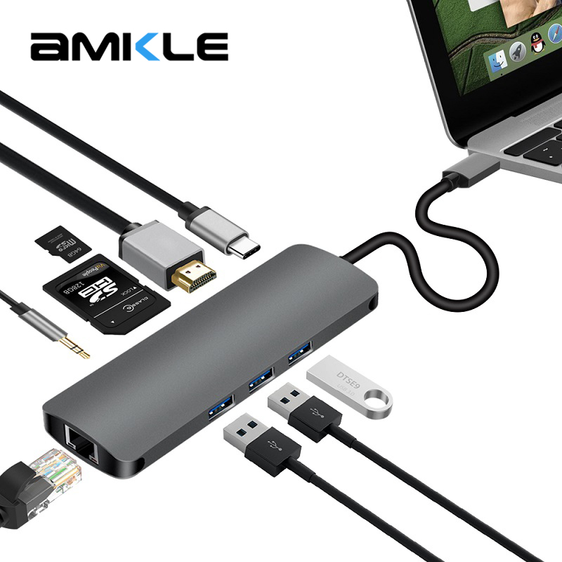 Amkle USB C Type C 3.1 HUB to HDMI RJ45 Gigabit Ethernet Adapter 3.5mm Audio With Type C PD SD TF Card Reader Hub For Macbook