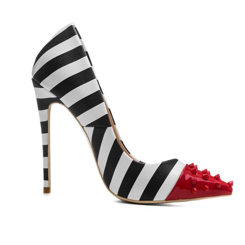 Mariage Pompes Avec Haute Pointu 10 Cm Nouveau 44 Talons Femmes Partie Noir Size34 Bande Mode Chaussures 2018 Rouge Bout Rivets De Blanc wgxz6Iq