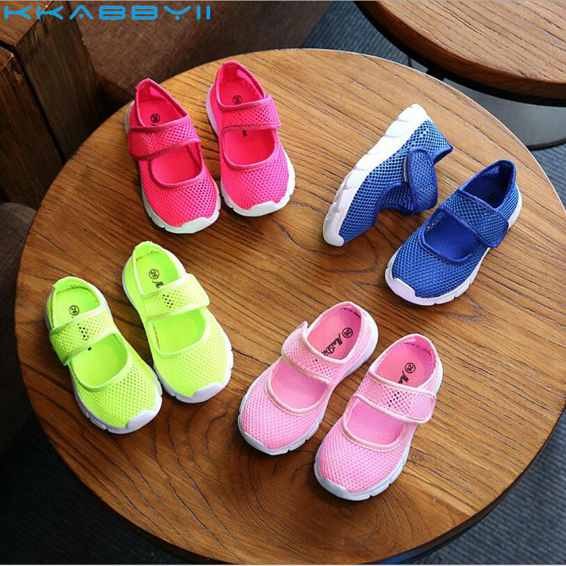 KKABBYII Children Shoes Girls Boys Casual Shoes Summer Fashion Candy Color Breathable Mesh Kids Sports Shoes Boys Girls Sneakers