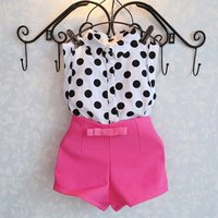 Summer Girls Sweet Clothes Kids Boutique Outfits Sleeveless Polka Dot Blouse Pink Short Pants Clothes Set