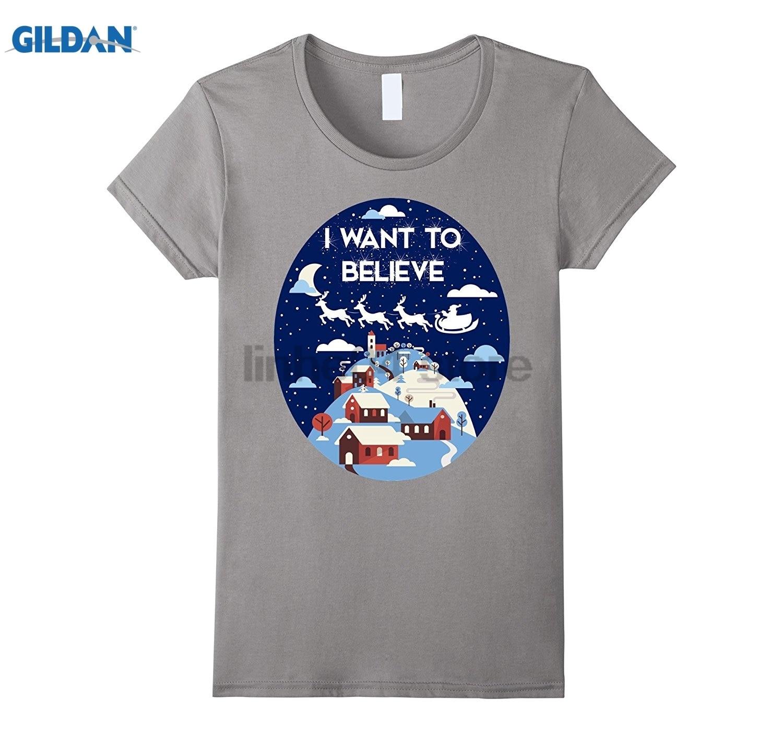 GILDAN I Want To Believe Santa Sleigh T-shirt North Pole Tee sunglasses women T-shirt