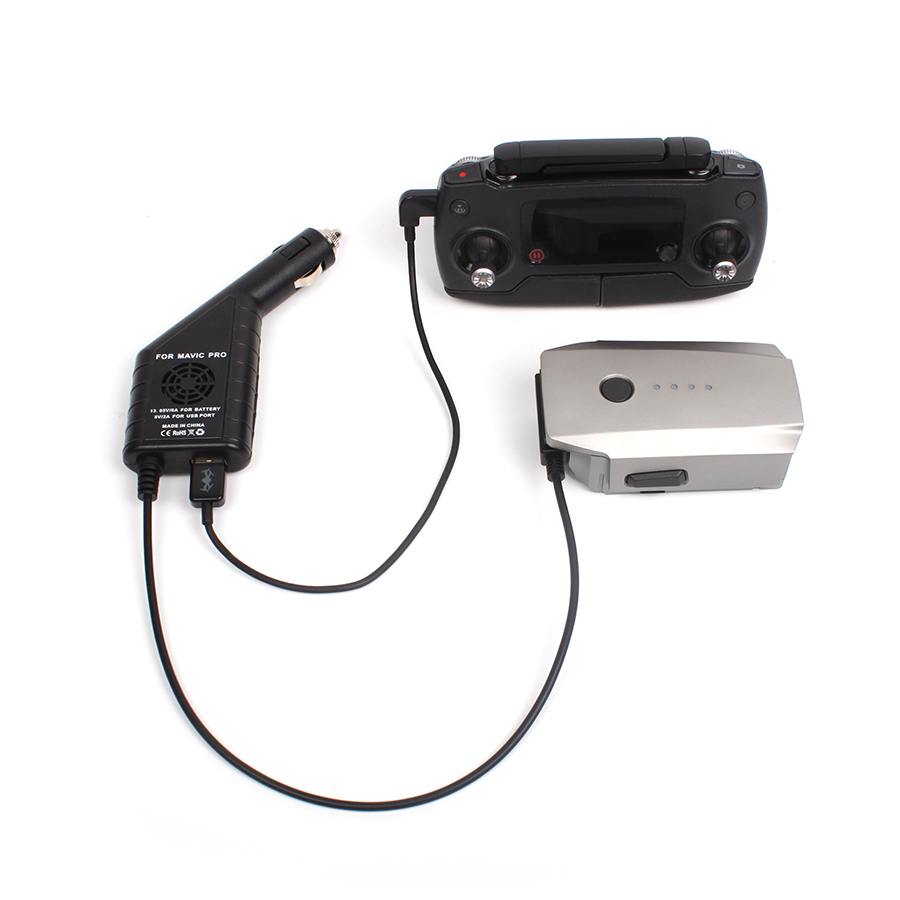 2 dans 1 Auto-oplader rencontré Usb-poort Batterij Opladen voor Telefoon Tablet voor DJI Mavic Pro À Distance contrôleur Accessoires