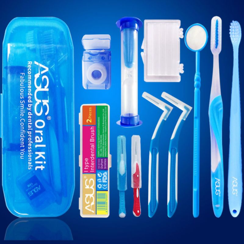 10Pcs Professional Orthodontic Toothbrush Interdental Brush Floss Brace Protection Wax Mirror Oral Care Tools Kit Portable