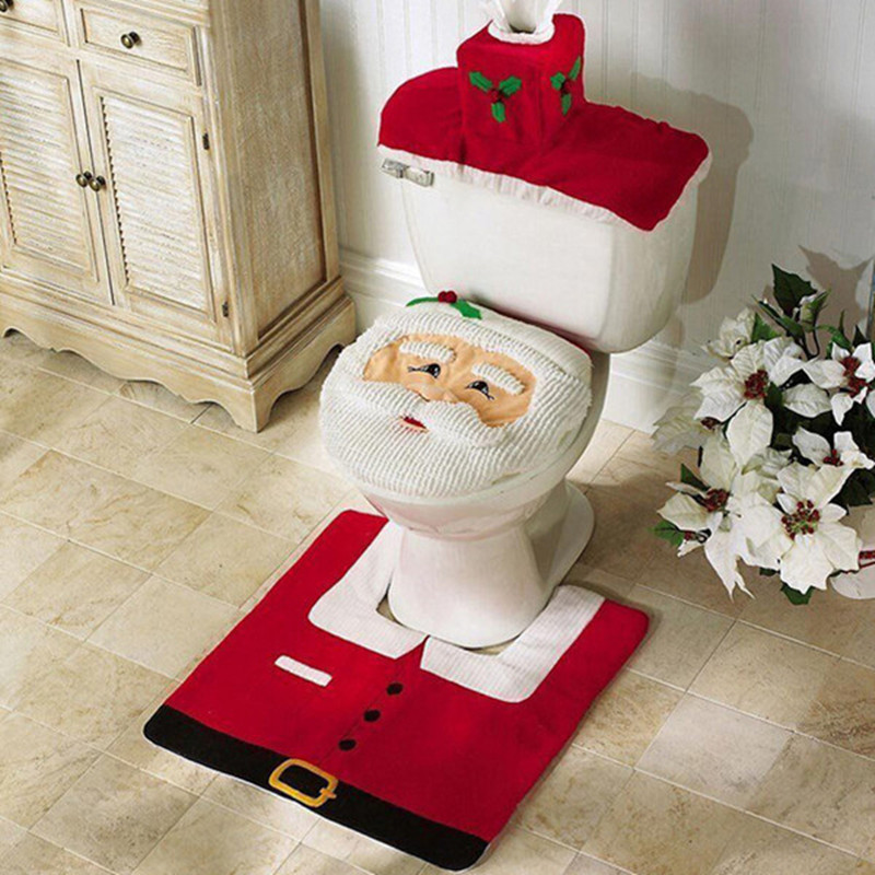 Santa Claus Toilet Seat Cover Bathroom Accessories Tank Cover Flooring Rug  Christmas Decoration Holiday Gifts Art