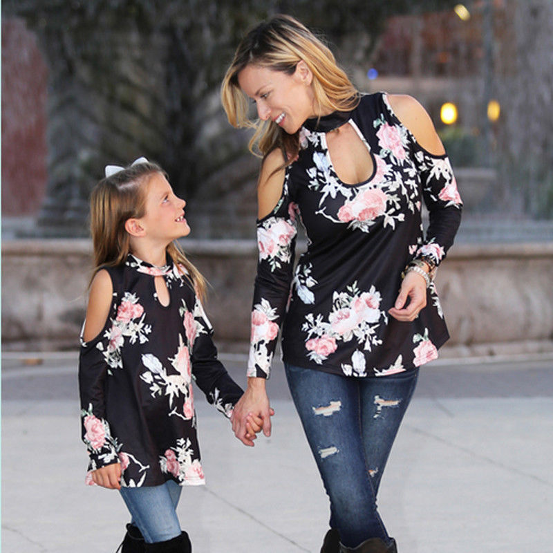 Mother & Kids Family Matching T Shirt Outfits Mother And Daughter Clothes Women Kid Girls Floral Summer Top Off Shoulder Beach Blouse Fashion Bright And Translucent In Appearance