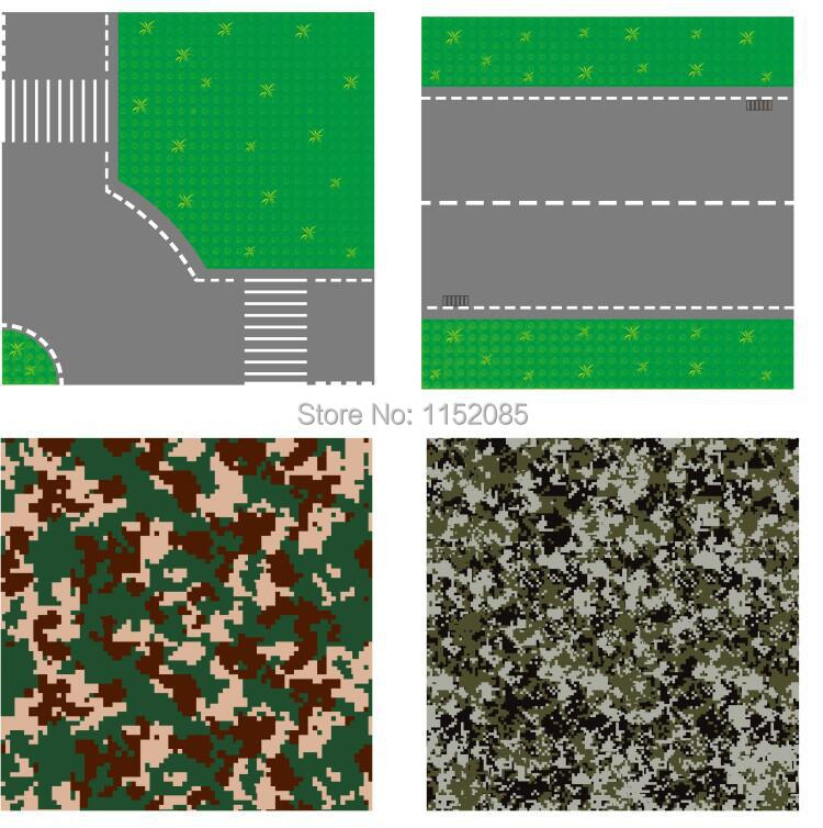 32*32 Dots 10*10Base Plate for Small Bricks Camoufalge Pixel Road Baseplates DIY Building Blocks Toys Compatible with Legoed 32 32 dots plastic bricks the island straight crossroad curve green meadow road plate building blocks parts bricks toys diy