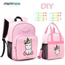 mommore Cute Unicorn Kids Backpack with Insulated Lunch Bag for Boys/Girls Canvas Bags For Picnic DIY Nametag