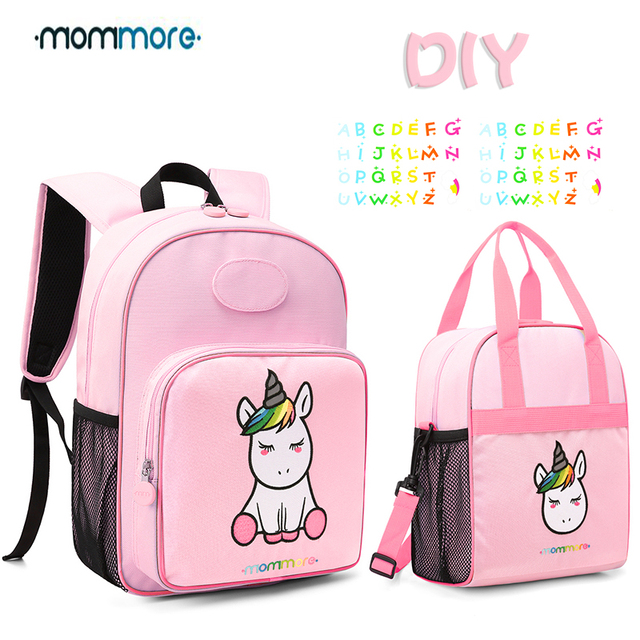 bd2dc89da65294 mommore Cute Unicorn Kids Backpack with Insulated Lunch Bag for Boys/Girls  Canvas Lunch Bags For Picnic DIY Nametag Backpack