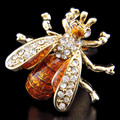 Abelhas SPARTA Chapeamento de ouro + Áustria cristal Abotoaduras masculinas de punho + Frete Grátis!!!