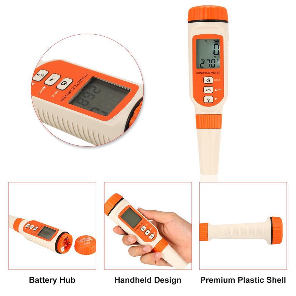 SMART SENSOR AR8011 Water Quality Analyzer Conductivity Monitor Digital LCD Backlight EC TDS TEMP Meter Aquarium Measurement in Concentration Meters from Tools