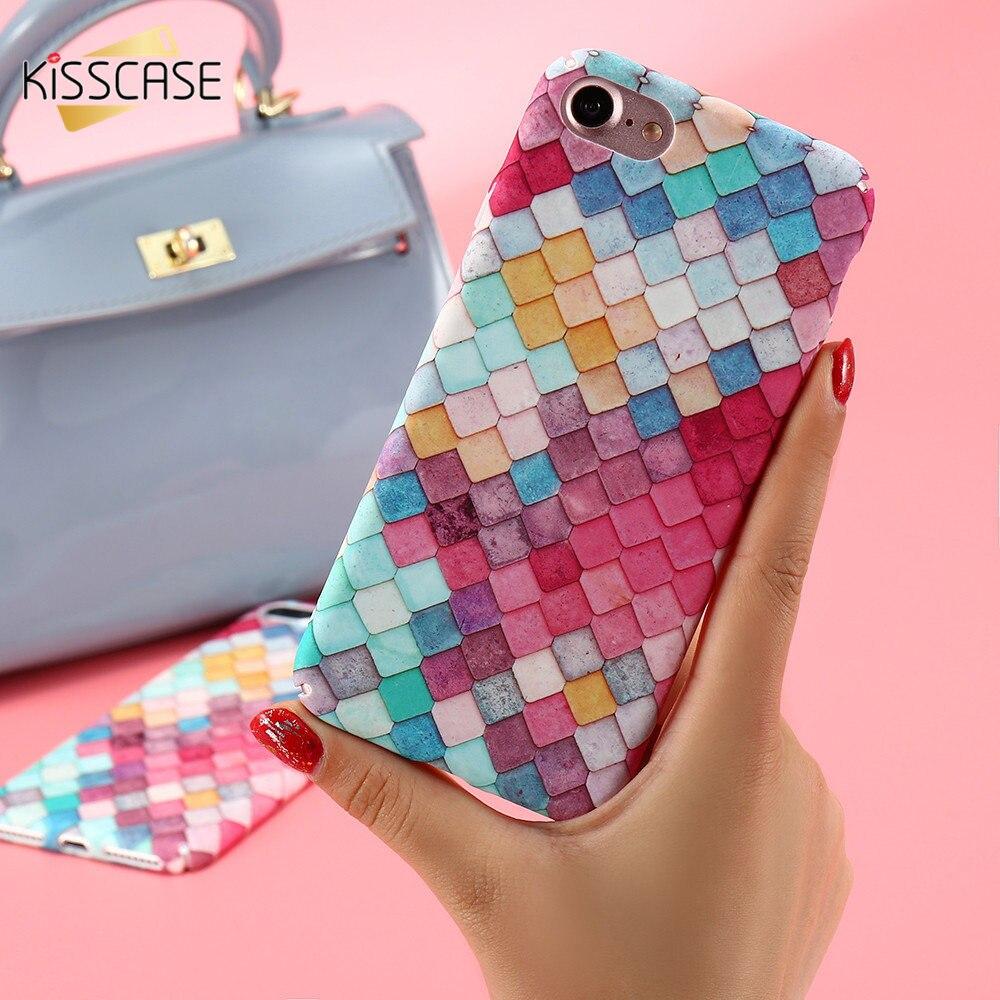 KISSCASE Cuadrícula Colorida Caja Del Teléfono Duro Para el iphone 7 7 Plus 6 6