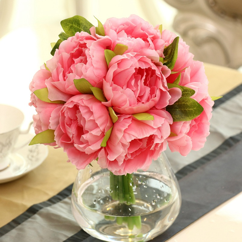 Artificial Peonies Flowers 10 Heads Wedding Bridal Bouquet fake Silk Flowers Leaf Wedding Bouquet Home Party Decorctions
