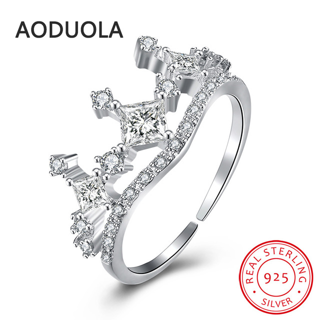 b23dc29825 925 Sterling Silver Adjustable Ring Silver Plated Crown Rings Women's Rings  Ladies and Girls Finger Christmas Gift For Lover