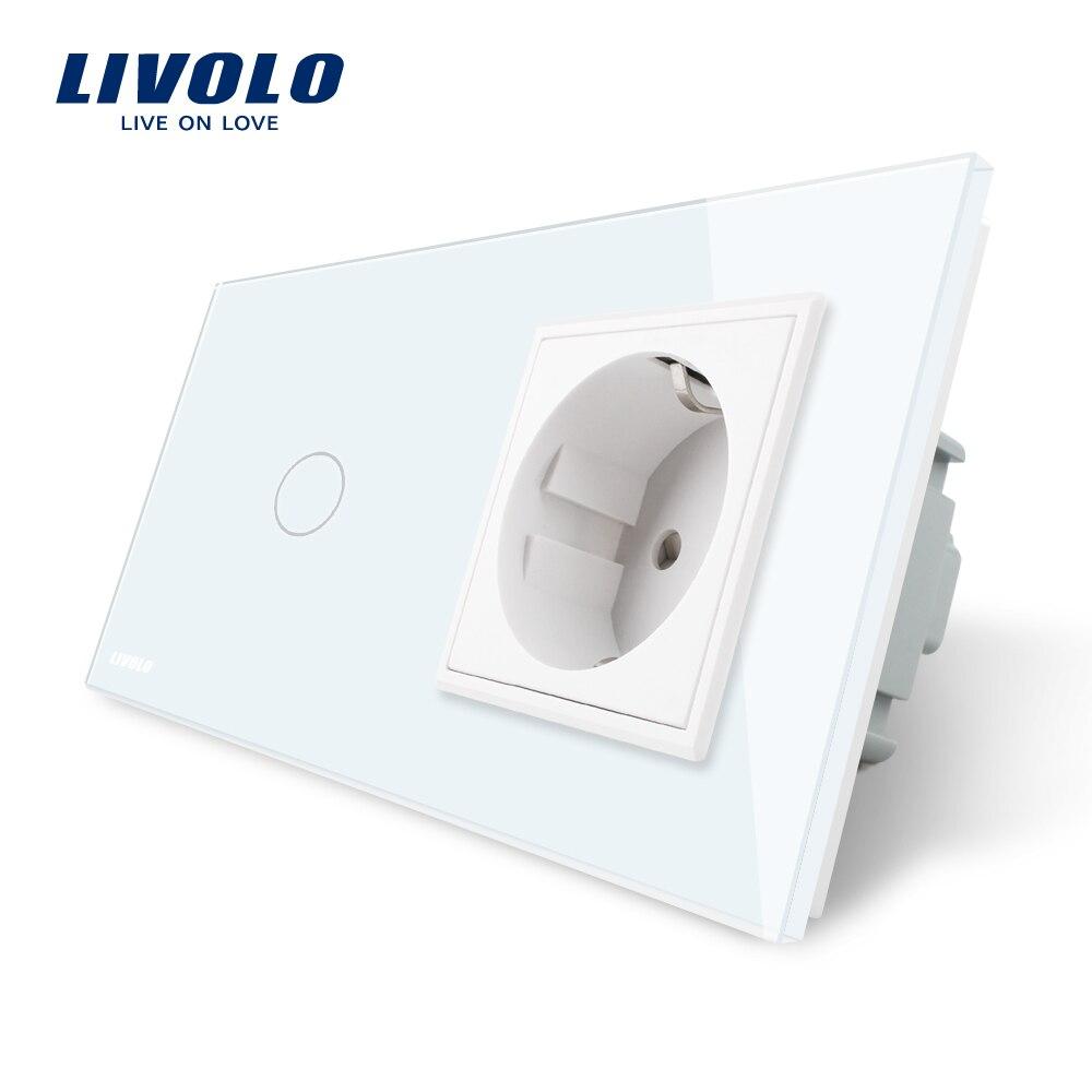 Livolo EU Interruptor táctil estándar, Panel de cristal blanco, enchufe de pared AC 220 ~ 250 V 16A con interruptor de luz, VL-C701-11/VL-C7C1EU-11