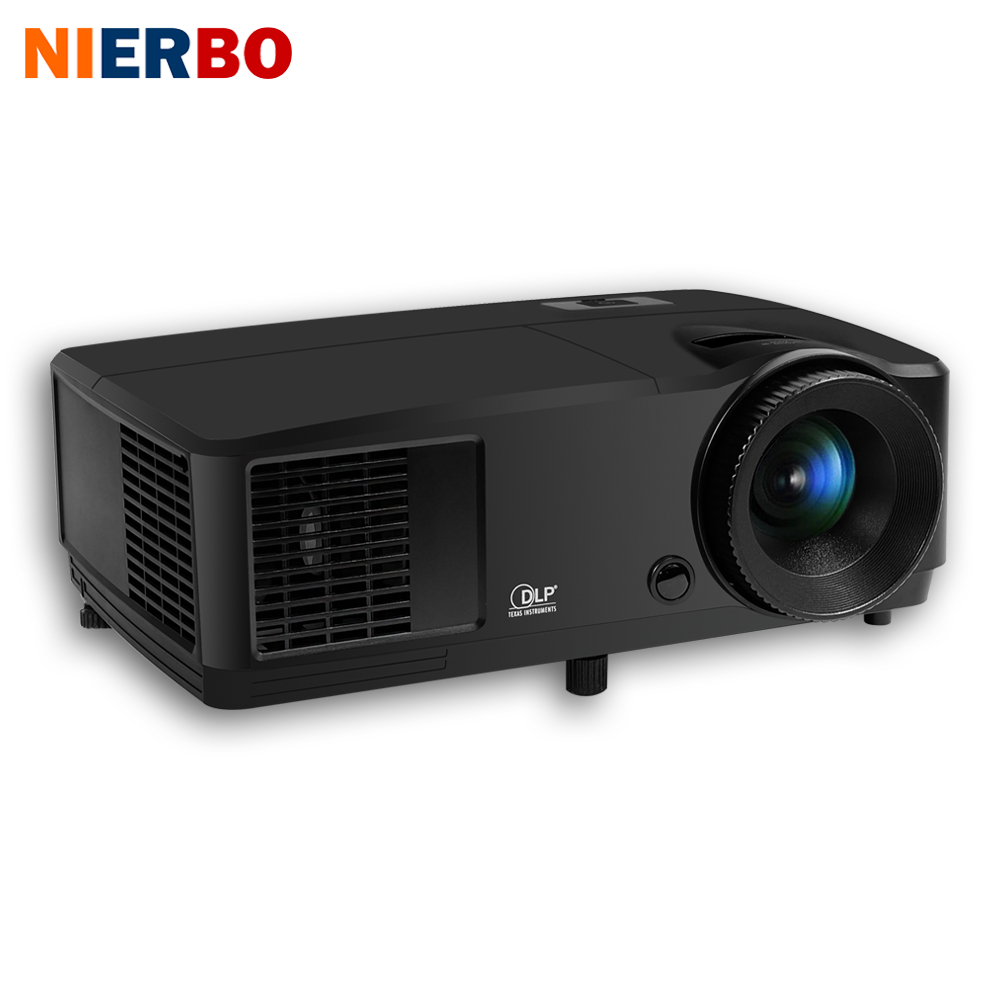 NIERBO 3D Projector Daytime Projector Full HD Beamer 1024*768 Native DLP Chip 203W lamp Support 1920*1080P HDMI Port 2800 Ansi nierbo 180 inches projector screen portable wall mounted for school show shop beamer commercial back rear projection screen film
