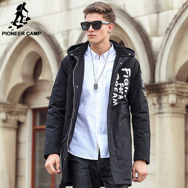 Pioneer Camp New Men parkas long style winter jacket men brand-clothing high quality fashion casual male winter coat men 611313
